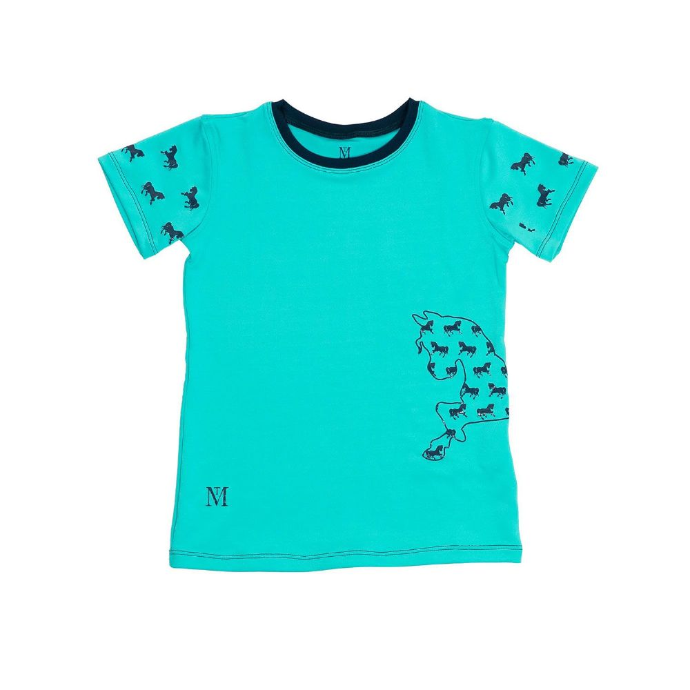 Mark Todd Short Sleeve Tee in Aqua/Navy
